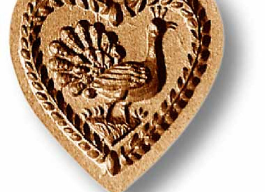 Heart with Peacock springerle cookie mold by Anise Paradise 5103