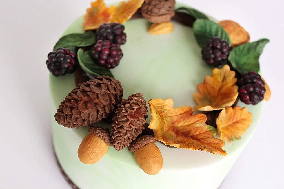 fall pine cones acorns leaves cake katy
