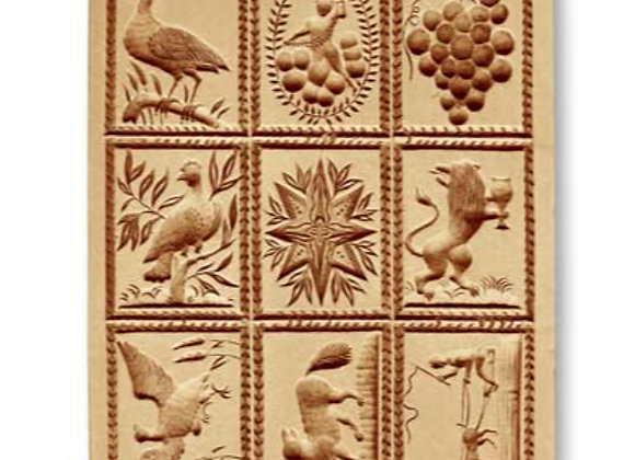 9 Pics: Birds, Grapes, Animal, Sled springerle cookie mold by Anis-Paradies 8956