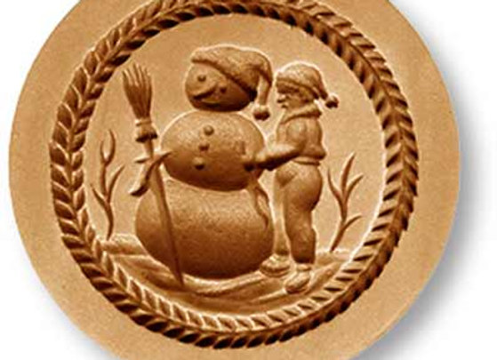 AP 1016 Boy Building Snowman springerle cookie mold by Anis-Paradies