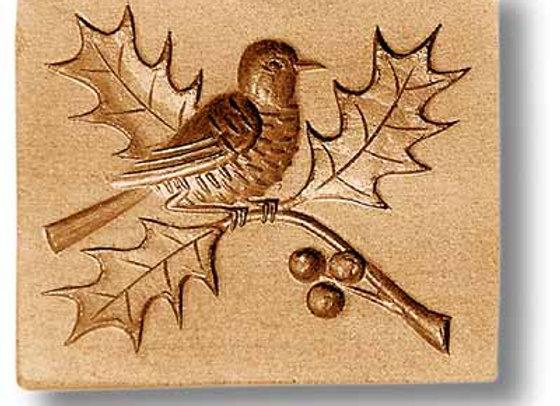 AP3467 Distelfink Bird on holly springerle cookie mold by Anis-Paradies
