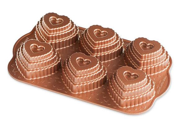 NW 90937 Nordic Ware Tiered Heart bundt cakelet pan #90937