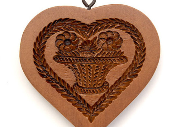 Basket of Flowers Heart Springerle Cookie Mold by House on the Hill M7921