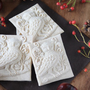 owl with vines springerle cookie mold