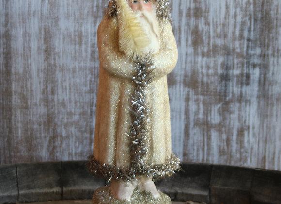 Vintage Chalkware Santa Decoration - Gold/Silver