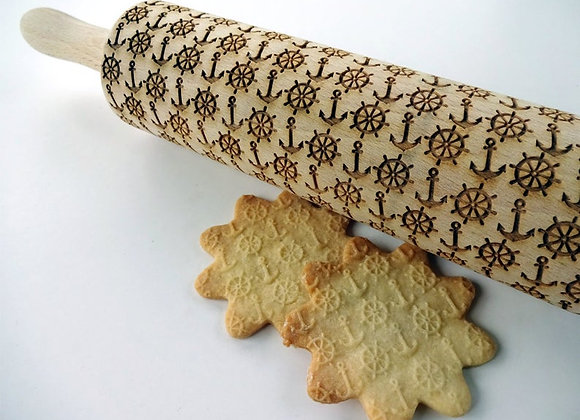Nautical Anchors Springerle Rolling Pin Large by Gingerhaus® WRPN16L