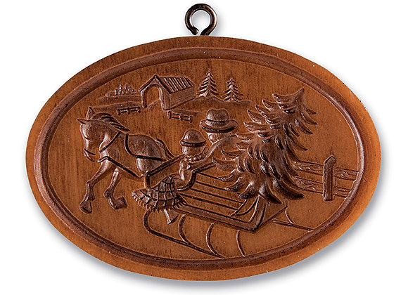 M11305 Sleigh with Covered Bridge Springerle Cookie Mold  by House on the Hill
