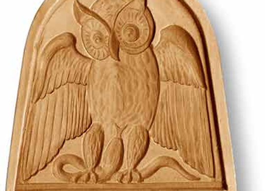 Owl in Bow Window springerle cookie mold by Anise Paradise 3415