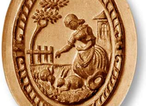 AP 7701 Woman Feeding Rabbits oval springerle cookie mold by Anis-Paradies 7700