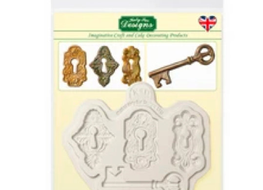 CE0084 Locks and Key ornaments silicone mold by Katy Sue Designs