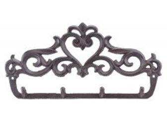 Victorian Hearts Cast Iron Wall Hook Rack