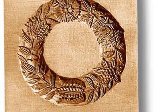 2268 Flower wreath large springerle cookie mold by Anise Paradise