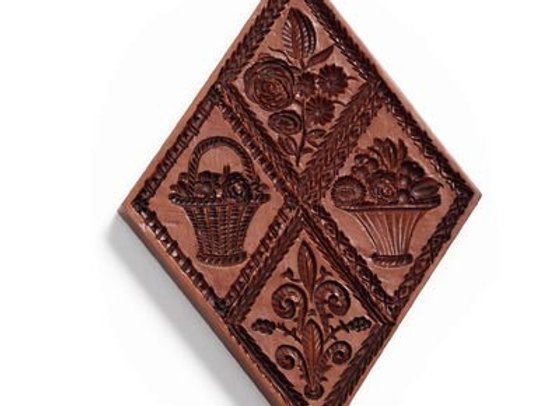 M4286 Four Diamonds Springerle Cookie Mold  by House on the Hill