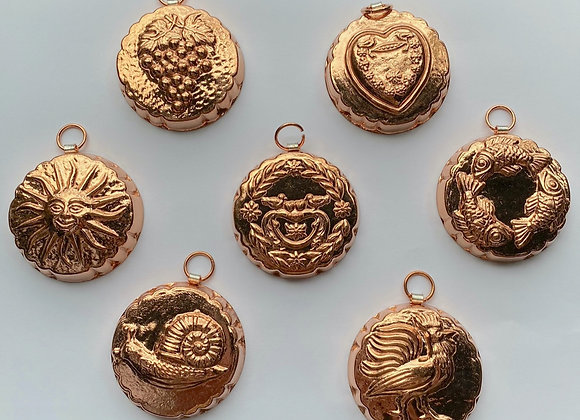 BG 106 Set of Seven Copper Choclolate Confection Molds by Birth-Gramm
