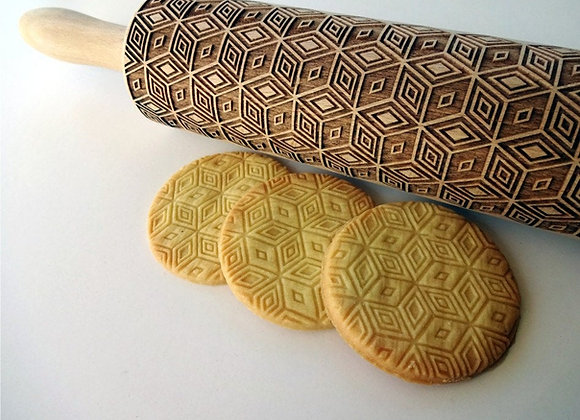 Magic 3 D cube Wooden Springerle Rolling Pin Large by Gingerhaus® WRPN09L