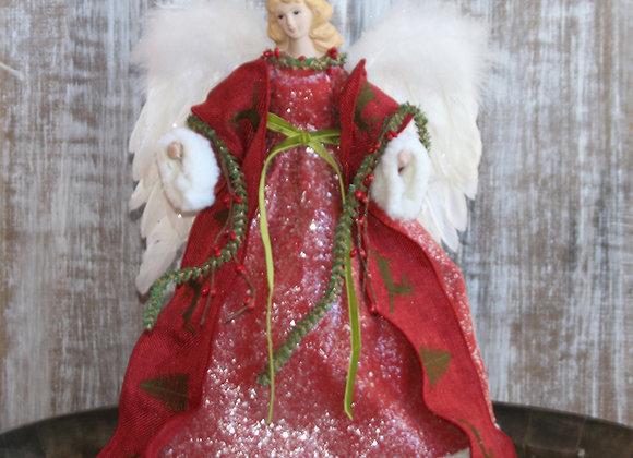 Angel Christmas Tree Topper Decoration - Shimmering Red Felt