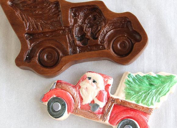 GH11963 Santa's Tree Farm Truck springerle cookie mold by Gingerhaus M11963