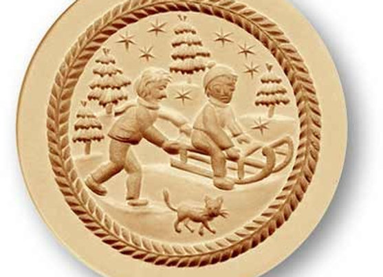 Children Sledding springerle cookie mold by Anis-Paradies 1214