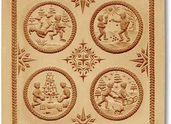 4 Pictures: Children in Winter springerle cookie mold Änis-Paradies 8914
