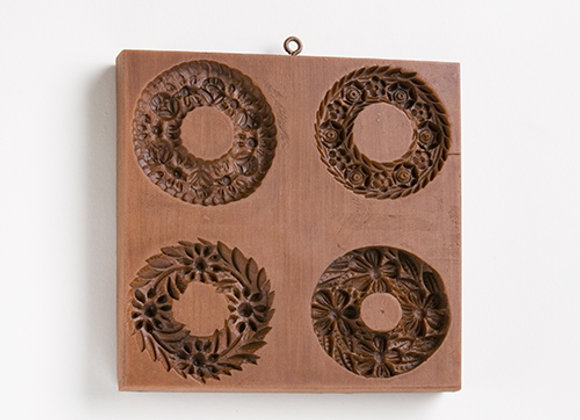 M5422 Four Wreaths Springerle Cookie Mold  by House on the Hill