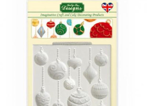CE0020 Christmas baubles ornaments silicone mold by Katy Sue Designs