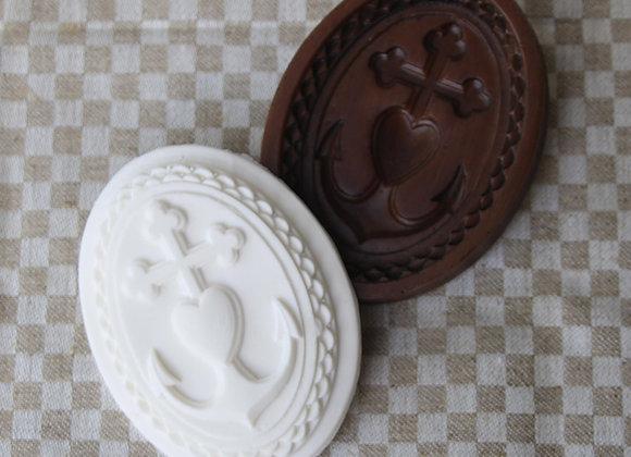 M11830 Faith Hope Love Oval Springerle Cookie Mold by Gingerhaus M11830