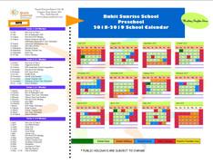 Preschool 2018-2019 School Calendar