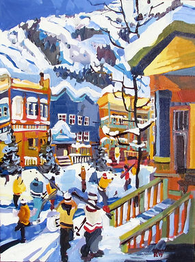 Painting of Silver Star Village in Vernon, B.C. Artwork by Rick Bond