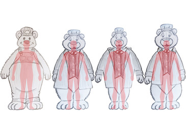 Male Bear proportion study with human overlay