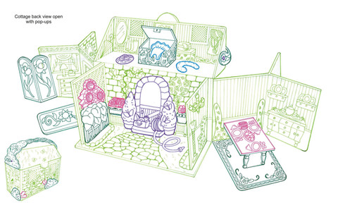 Cottage Pop-Open Carry Case for small dolls concept drawing
