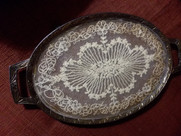 1920s dresser tray with ball feet and vintage lace