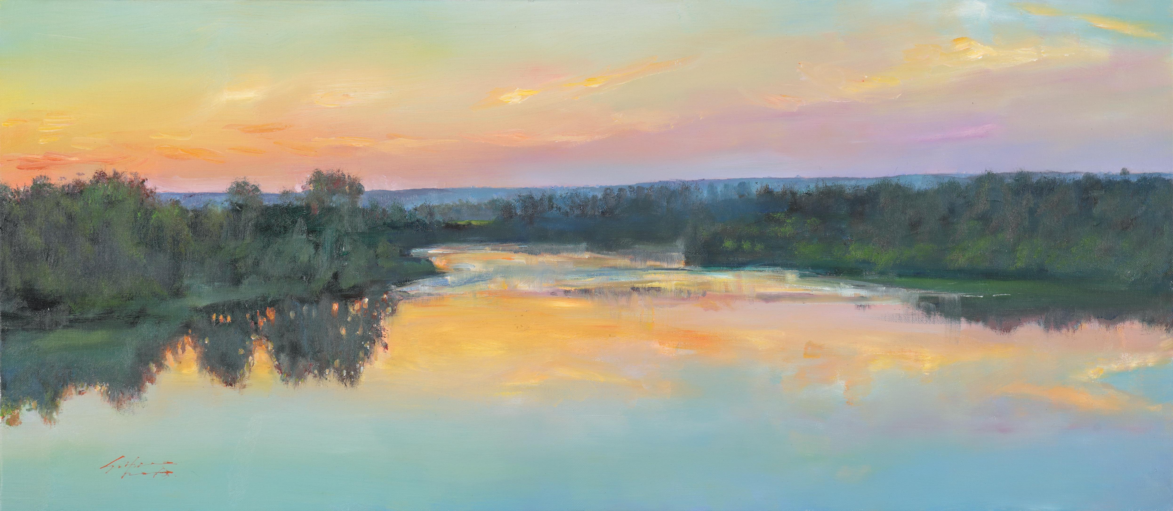 22 노을 지는 강가 40x91 Oil on canvas 2015
