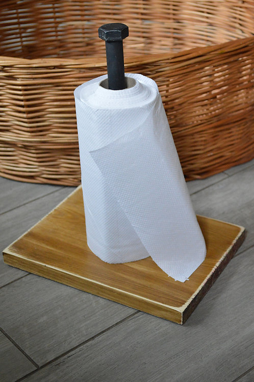 Free standing kitchen roll holder, reclaimed wood, paper tower bar