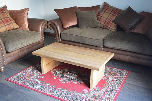 Massive REAL OAK Wooden Coffee Table - Made from 100 years old oak wood