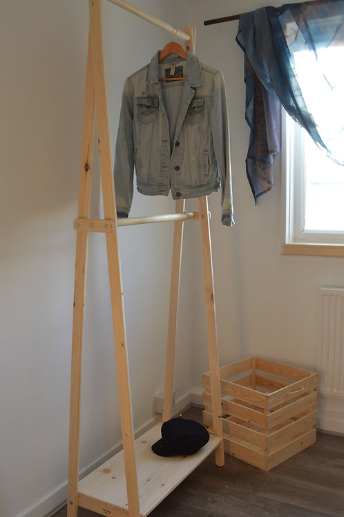 Handmade Clothes Rack with Shelf and Double Hanging Rail