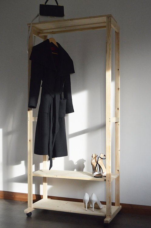 Hand Made Clothing Rail with 3 shelves