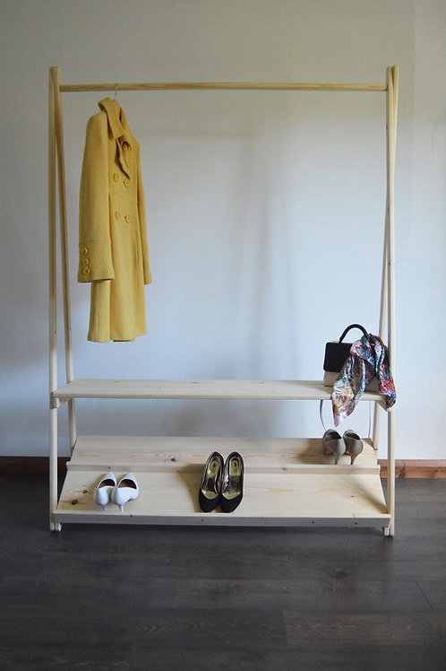 Clothes Rail with Two Shelves