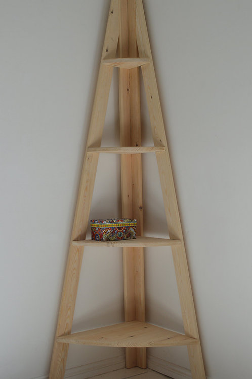 Retro Hand Made Corner Ladder like Shelving