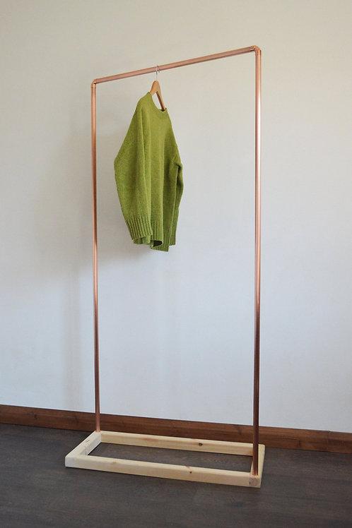 Natasha Copper Clothing Rack with Wooden Base