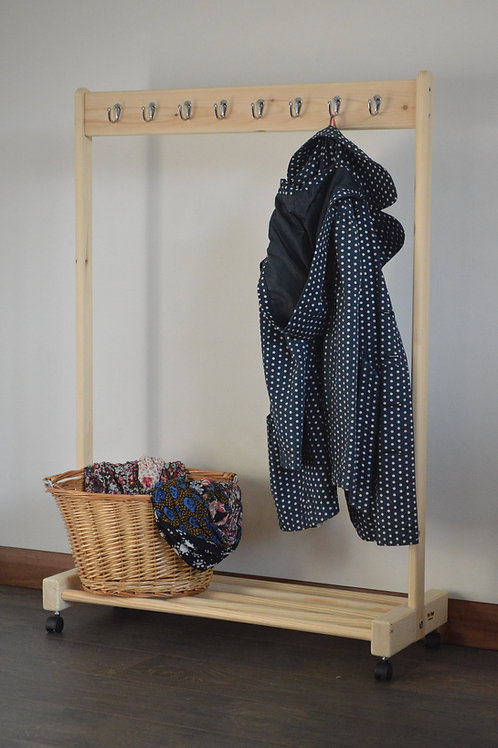 Clothing Rail with a Shelf, Wheels and Coat Pegs