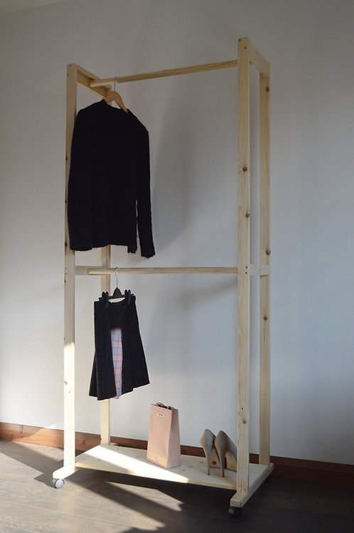 Hand Made Clothing Rail with 2 Hanging Poles.