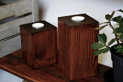 Tea Light Block Holder, from Pine Wood x2