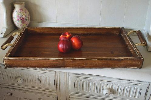 Light Handmade Wooden Serving Ottoman Tray