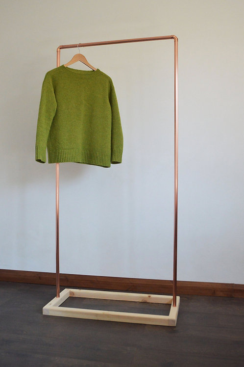 Industrial Copper Clothing Rack with Wooden Base