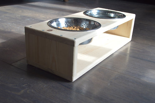 Wooden Dog Bowl Stand with bowls!