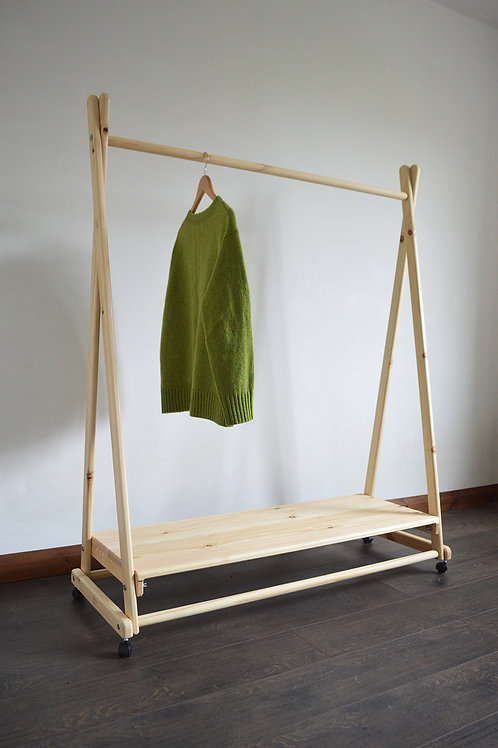 Handmade, Natural Wood, Clothes Rail with Shelf and Wheels