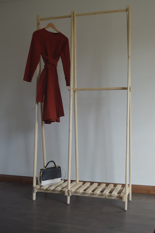 Handmade Clothes Rack with Pallet Shelf