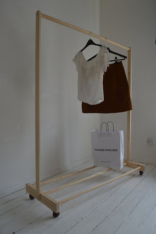 Handmade from Pine Wood, Clothes Rail with a Shelf