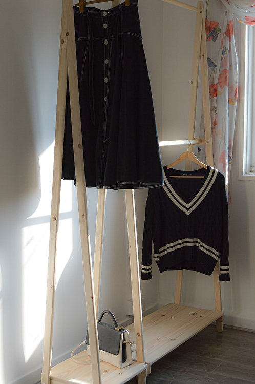 Handmade Clothes Rack with the Solid Shelf