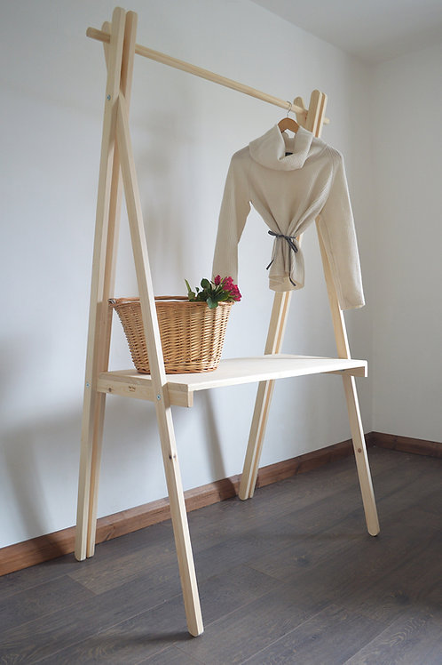 Handmade Clothes Rail with Shelf